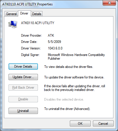 Device Manager - ASUS ATK0110 ACPI UTILITY